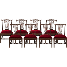 Set of Eight Side Chairs in the Georgian Gothick Manner