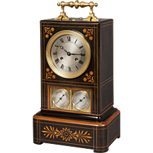 French 19th Century Inlaid Wood Mantel Clock