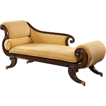 Regency Period Rosewood and Yellow Upholstered Chaise Longue