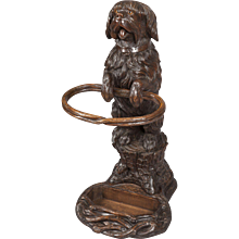 Carved Black Forest Umbrella Stand of a Terrier Dog