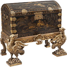 18th Century Chinese Lacquer Chest on English Giltwood Stand