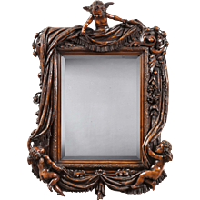 19th Century Italian Carved Mirror with Putti