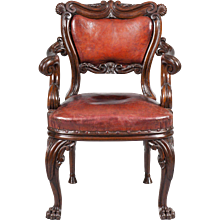 19th Century Irish Oak and Leather Armchair
