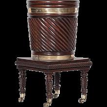 A Rare Irish 18th Century Peat Bucket on Stand