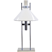 Mid-Century Modern Robert Sonneman Lamp - 1960s White and Chrome
