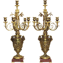Antique Pair French Bronze Candelabra - Putti and Rams - 19th Century