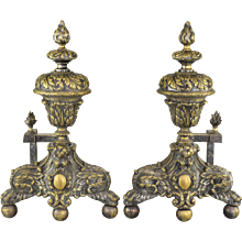 Pair Antique 19th Century French Andirons