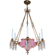 Antique Gilt Bronze and Cased Pink Opaline Glass Bowl Continental Chandelier with Cut Crystal Spear Prisms