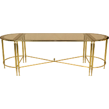 French Cocktail or Coffee Table Trio Set - Brass and Glass