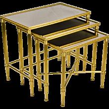 Set 3 Italian Brass Nesting - Stacking Tables