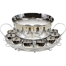 Dorothy Thorpe Silver Fade Glass Punch Set