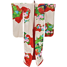 1940s Silk Uchikake Kimono Cranes - Showa Period