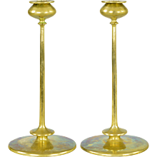Pair Antique Robert Jarvie Beta Brass Arts and Crafts Candlesticks