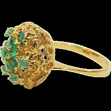 Vintage 18K Gold Filigree Emerald Cluster Ring