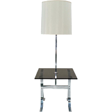 Milo Baughman X-Base Mid-Century Modern Floor Lamp Table with Smokey Glass Top