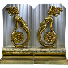 Pair Art Deco Machine Age Figural Mermaid Bookends - Aluminum and Bronze