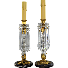 Pair Vintage French Cut Crystal Candlestick Lusters Lamps