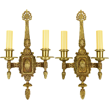 Large Pair Vintage Ornate Cast Brass Wall Sconces