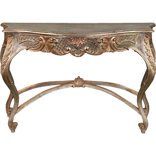 Vintage Italian Silver Gilt Carved Wood Console Table