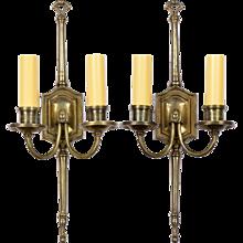 Pair Elegant Vintage English Bronze 2-Light Sconces