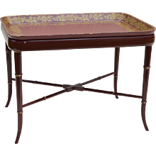 Papier Mache Tray Table Faux Bamboo - Burgundy / Red / Gold