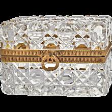French Antique Baccarat Cut Crystal Casket Box - Dore Bronze Mounts