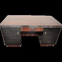 Palisander Art Deco Desk with Chrome Bars