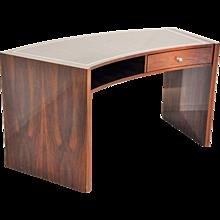 Vintage Macassar Desk with Curved Tabletop