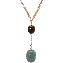 Aquamarine Cabochon Necklace 15.40 Carats Antique Yellow Gold Chain with Ruby Cabochon 14k