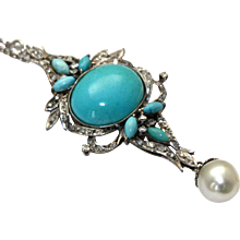 Persian Turquoise Diamond Pendant in Palladium with South Sea Pearl