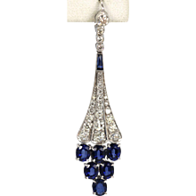 Deco Diamond and Sapphire Earrings 18K White Gold 6.86 Carats