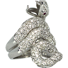 18K Snake Serpent Ring with 4.36 Carats of Diamonds and two Ruby Eyes Gorgeous