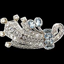 Deco Platinum Aquamarine Diamond Pin Brooch Pendant 5.00 Carats