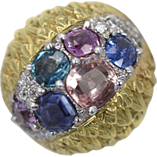 David Webb Custom Fancy Sapphire High Dome Ring 6.55 Carats 18K Yellow Gold & Platinum Size 5.5