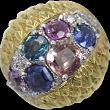 David Webb Custom Fancy Sapphire High Dome Ring 6.55 Carats 18K Yellow Gold & Platinum Size 5.5