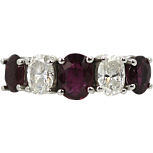 Ruby Diamond 1/2 Eternity Band 14K White Gold size 6 Matched Stones 2.5 carats