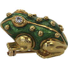 David Webb Iconic Green Enamel Frog Brooch Pin Diamond Eyes 18K Yellow Gold
