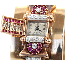 Retro Ruby Circa 1940's Diamond Wide 14K Yellow Gold Covered Face Bracelet Watch 2.50 Carats