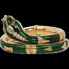Vintage Diamond Snake Bracelet 18K Yellow Gold with 2.25 carats of Diamonds Gorgeous green Enamel