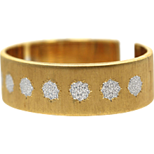 Buccellati 18K Textured Brushed Yellow Gold and White Gold Cuff Bracelet