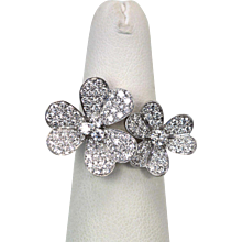 "Van Cleef & Arpels Diamond ""Frivole"" Double Flower Ring Size 52"