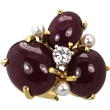 Seaman Schepps Ruby Cabochon Earrings with 3 Pearls and Diamonds Pierced