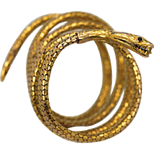 Antique French Snake Serpent Bracelet 18K Yellow Gold, Ruby Eyes, Circa 1860