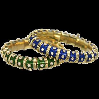 Tiffany Schulmberger Blue Enamel Diamond Narrow Bracelet Iconic 18K 3.00 Carats