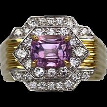 David Webb Pink Sapphire and Diamond Ring