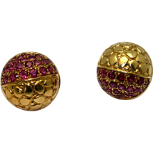 Gucci Fine Jewelry Circa 1980 18k Yellow Gold & Ruby Dome Earrings with Half Snake Finish