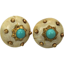 Mario Buccellati 18K Textured Brushed Yellow Gold Earrings with Turquoise (set)
