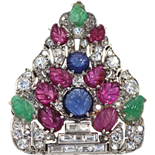 Art Deco Platinum Carved Ruby, Sapphire, Emerald and Diamond Tutti Frutti Pierced Shield Brooch