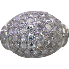 Deco Platinum Diamond Bombe Ring covered in 5.90 carats of Diamonds sizable 8.25