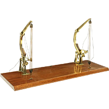 A late 19th century model of a pair of brass Davit type cranes